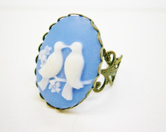 Cameo Ring, Vintage Style Filigree Adjustable Ring, Blue & White Love Bird Cameo, Large Cocktail Ring, Resin Jewelry, Shabby Chic Jewelry.