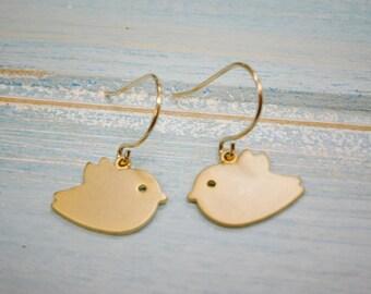 Matt Gold Plated Bird Charm On 14K Gold Plated French Earring Hooks/Dangle Earrings.