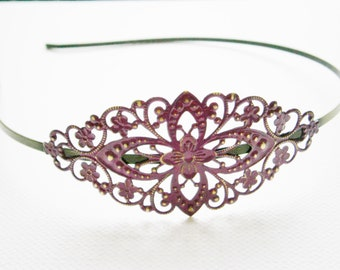 Purple/Orchid Patina Filigree Headband - Hair Accessory, Bridesmaid Gift, Family Pictures, Stocking Stuffer