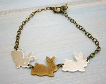 Antique Silver & Bronze Plated Three Rabbit Charm Bracelet/Boho Bracelet/Nature Inspired Bracelet/Woodland Jewelry/Flower Girl Bracelet