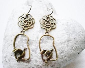 Antique Bronze Filigree Flower and Bird Charm Earring Hooks/Boho Earrings/Nature Earrings/Dangle Earrings