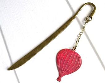 Bookmark with a Antique Bronze Hot Air Balloon with Red Patina/Book Lover Bookmark/Bookmark/Bookmarks for Books/Book Lover Bookmark