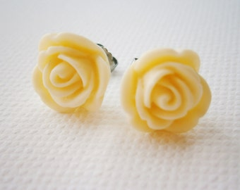 Cream 13mm Resin Rose Flowers set on Stainless Steel Hypo Allergenic Earring Posts/Stud Earrings.