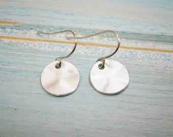 Matt Rhodium Plated Hammered Coin Pendant On Rhodium Plated French Earring Hooks/Dangle Earrings/Nature Earrings/Bird Earrings