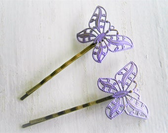 Amethyst/Lilac/Mauve Patina Filigree Butterfly Antique Bronze Bobby Pins Set of 2/Bohemian Hair Clips/Shabby Chic Hair Clips/Rustic Wedding