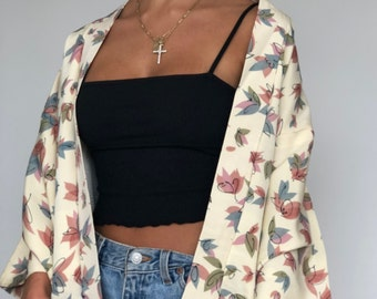 5a03dadde Boho vintage cream silk kimono robe jacket with blue/pink leaf print