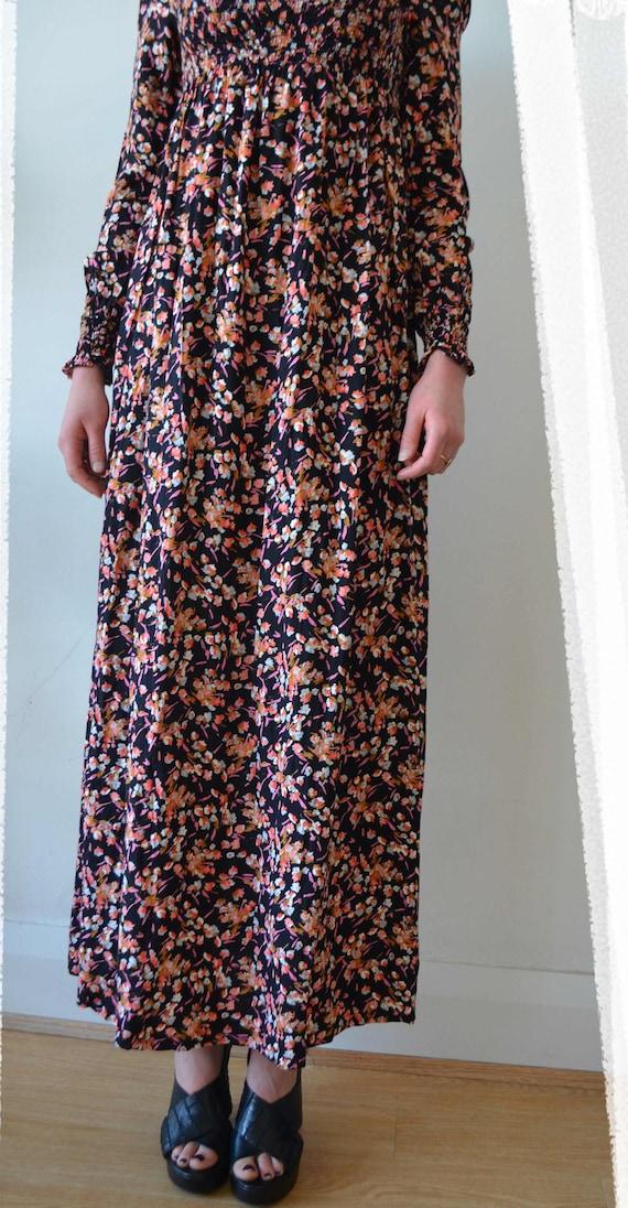 vintage Vintage bust designer maxi UK floral dress shirred clothing dress SM with dress boho 70's vintage peasant CrwXqPr