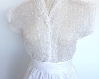 50s sheer white blouse top -embroidered vintage shirt xs