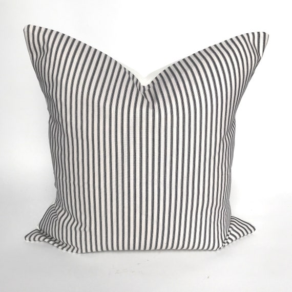 "Handmade 16/"" pillow COVER black and white ticking stripe"