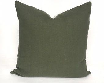 Fig green European linen pillow cover
