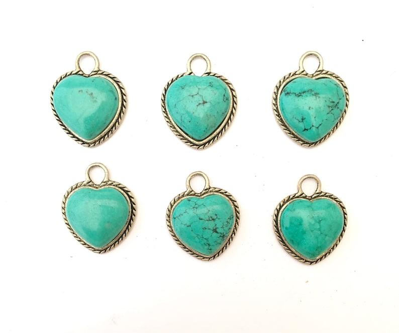 LOT 6 Heart Pendants in Turquoise Howlite