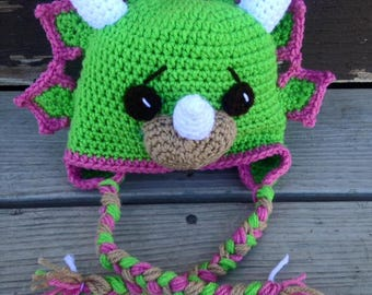 Triceratops hat, Crochet Dinosaur hat, kids hat, dinosaur hat, toddlers hat, dinosaur beanie, fuller designs