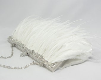 1920s Bridal Feather Wedding Clutch, White Ostrich Feather Bridal Clutch, Wedding Purse, Feather Bridal Clutch Great Gatsby Flapper Bridal
