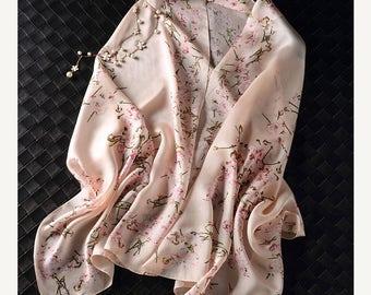 8962ccb66ef Pink Floral Silk Scarf with Cherry blossom Print - Gray sakura Printed Silk  Scarf - Black Floral Silk Scarf - White Floral Silk Scarf-2017U