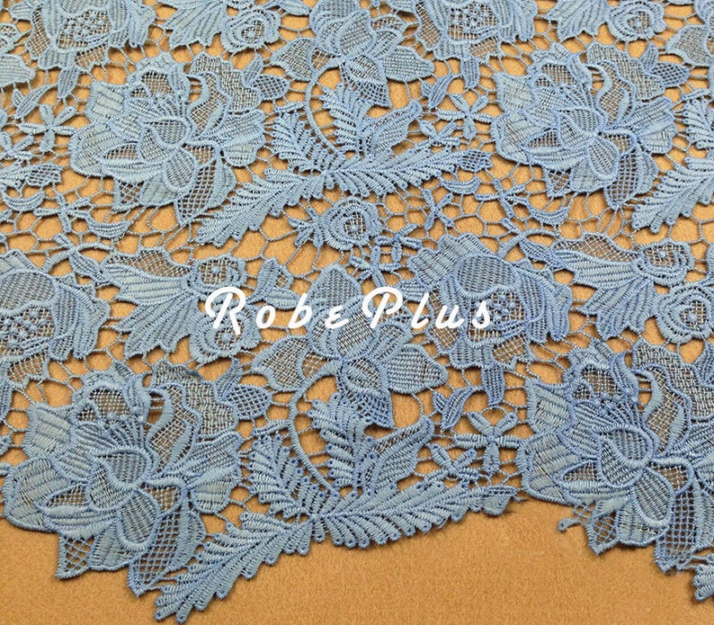 Blue Lace Fabric Floral Blue Lace Fabric Embroidered Floral Lace Fabric L121 Blue Floral Lace Fabric Light Steel Blue Lace Fabric