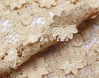 Floral Applique Lace Fabric - Bisque Lace Fabric -Mocassin Lace Fabric-Chemical Lace Fabric-L14