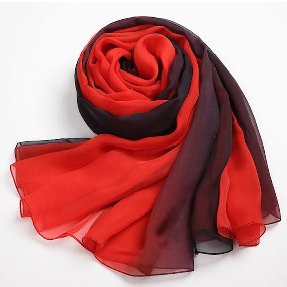 d7302d003a77 AS39 foulard de soie mousseline de soie couleur dégradé   Etsy