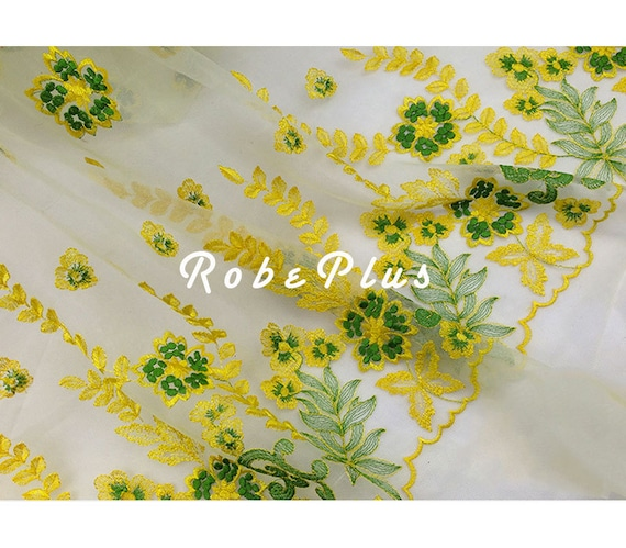 Tulle dentelle tissu - vert motif et dentelle de Tulle jaune brode avec motif vert Floral - dentelle de Tulle brodé Floral - Floral broder dentelle-l 115 6262a2