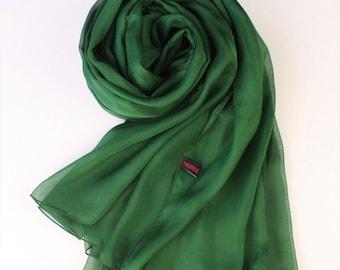 Dark Green Silk Scarf - Dark Forest Green Silk Chiffon Scarf - AS4