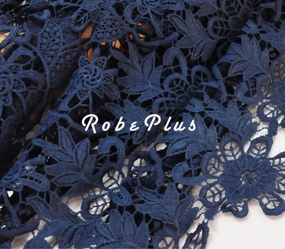 Dark Blue Lace Fabric Blue Floral Lace Fabric Chemical Lace Fabric Floral and Leaf Shape Lace Fabric L151