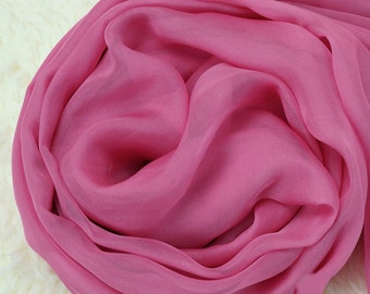 Pale Violet Red Silk Scarf - Hot Pink Silk Chiffon Scarf - AS228