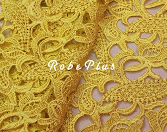 Listing for 2 Yards of Yellow lace fabric- Yellow Floral lace