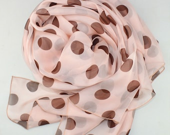 Pink Silk Chiffon Scarf with Large Polka Dot Print - Polka Dot Printed Silk Scarf  - AS35