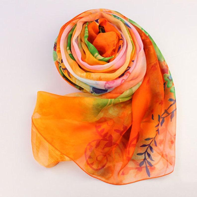8ba21ecb646d7 Bright Orange Floral Silk Scarf Orange Silk Chiffon Scarf | Etsy