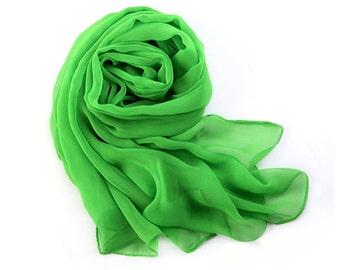 Lawn Green Chiffon Scarf - Lime Green Chiffon Scarf - PS80