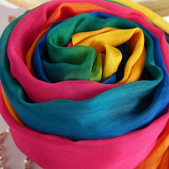 93e20f00056d Dégradé couleur soie foulard foulard en mousseline de soie   Etsy