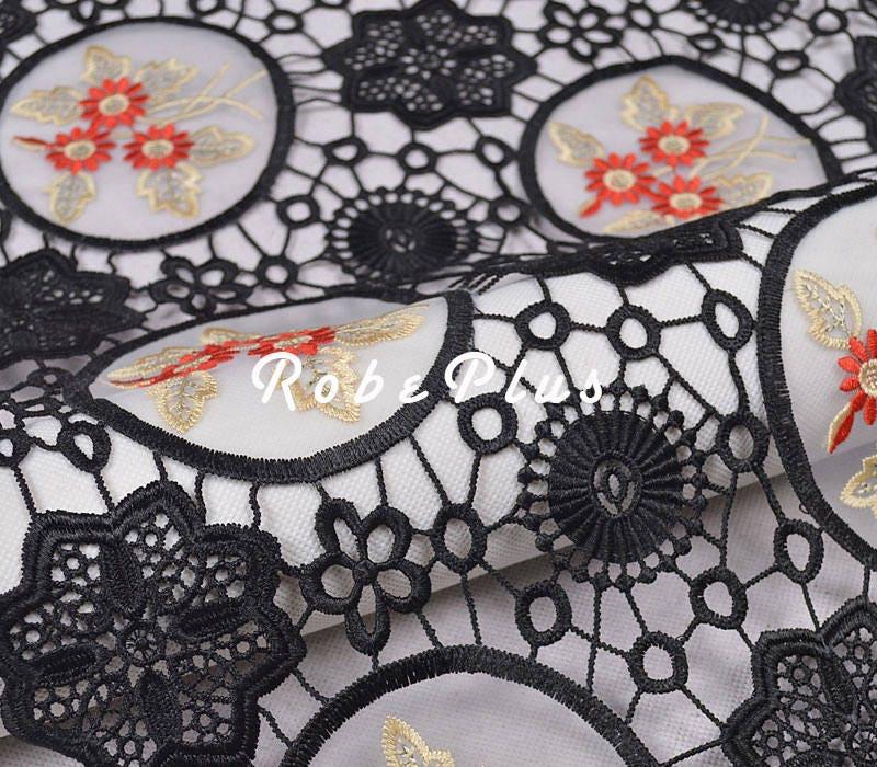 Tissu de dentelle - noire - Floral chimique - dentelle noir Floral dentelle - noir brodé dentelle avec broderie organza-L300 98883e