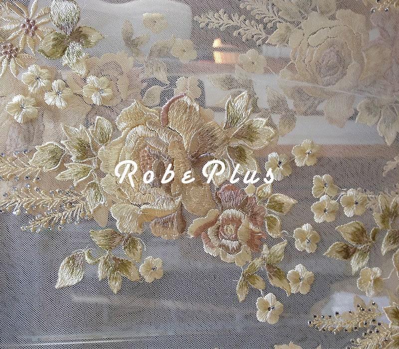 Tulle dentelle Schiffli - strass tissu dentelle tissu strass - broder dentelle - dentelle florale brodé avec strass embellissement-dentelle Champagne 658006