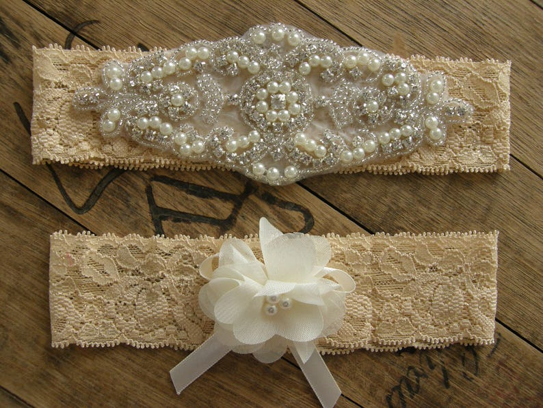 ece7a7b7ead Wedding Garters Tan Color Garter Set Bridal Garter