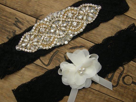 d6b47fcba79 Black Wedding Garters Wedding Garter Set Crystal Rhinestone