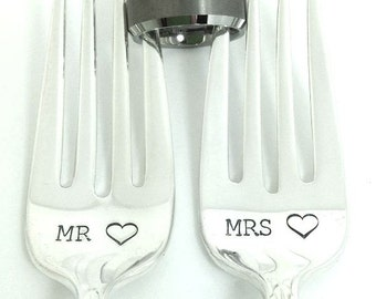 Mr Mrs Forks - Hand Stamped Vintage Silverware, wedding silverware, wedding gift, wedding forks, anniversary gift