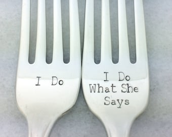 engagement party gift, newlywed gift, gift for newlyweds, funny wedding gift, i do i do what she says, wedding forks