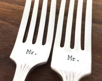 Gay wedding gift, mr mr forks, hand stamped forks, same sex wedding gift, gift under 30