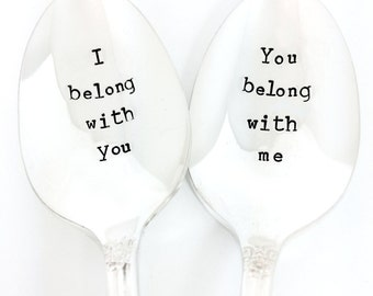 bridal shower gift, wedding shower, i belong with you, gift for bride, engagement gift, wedding spoons