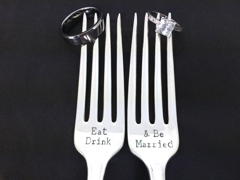 wedding gift gift for bride eat drink and be married wedding forks gift under 30 engagement gifts for couple