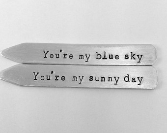 You're my blue sky, gift ideas for him, 10 year anniversary for him, collar stays, tin anniversary