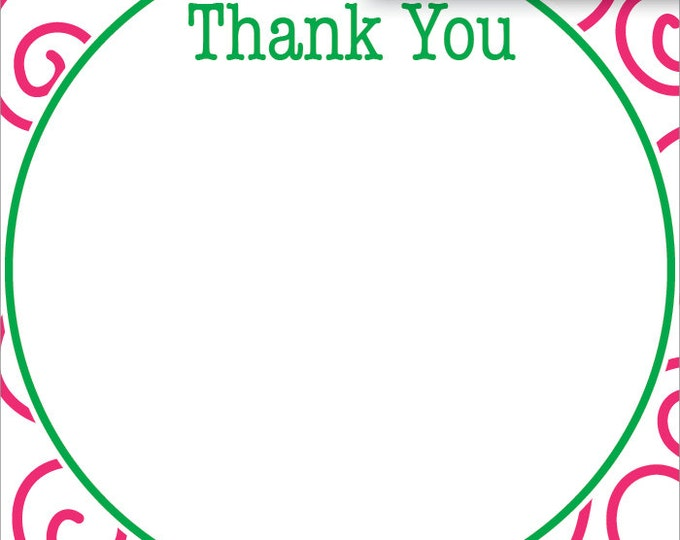 Pink & Green Girly Swirl | Thank You Stationery