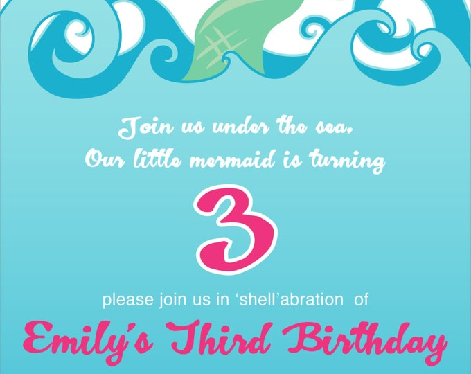 Mermaid Tail Splash | Birthday Party Invitation