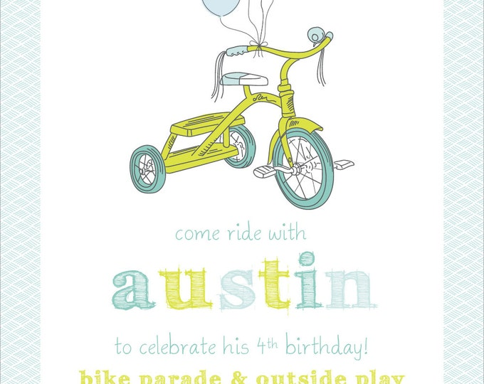 Precious Pastel Tricycle |  Birthday Party Invitation