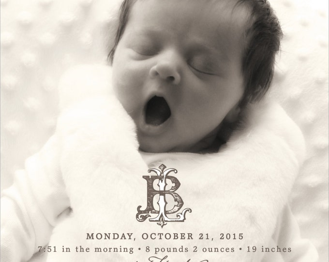 Ornate Etched Monogram | Photo Birth Announcement