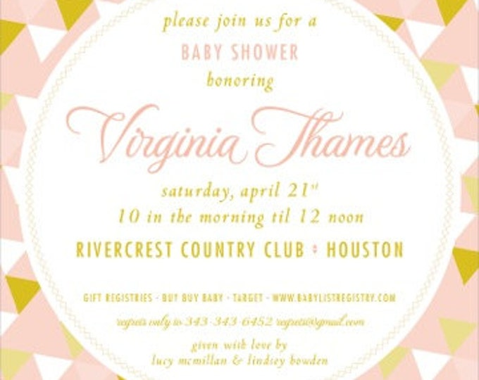 Vintage Geometric Baby Shower Invitation | Digital Download