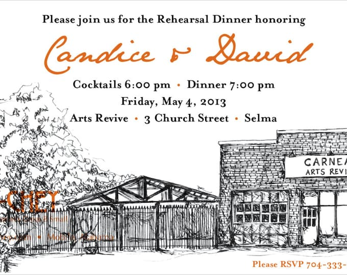 Arts Revive Selma, Alabama | Custom Sketched Rehearsal Dinner Invitation