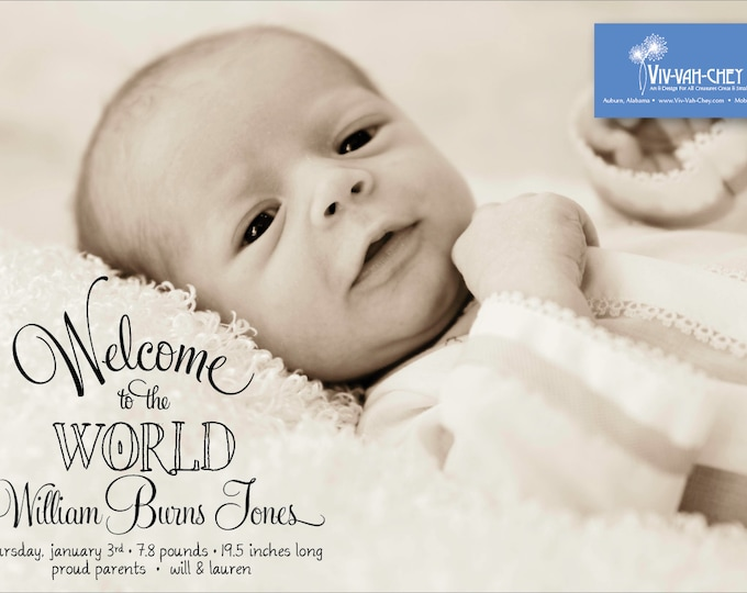 Welcome to the World | Photo Birth Announcement
