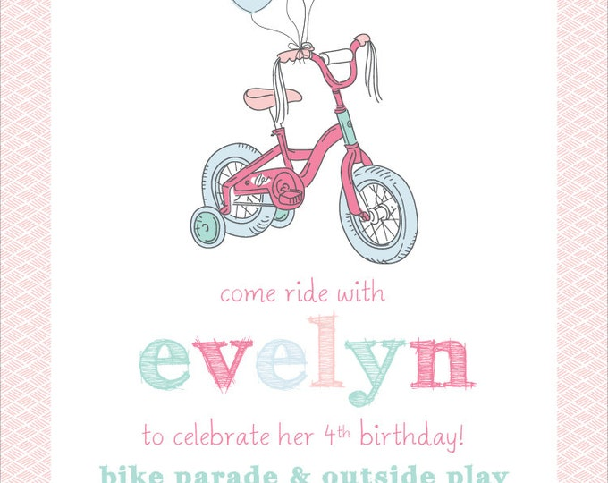 Precious Pastel Bicycle | Birthday Party Invitation