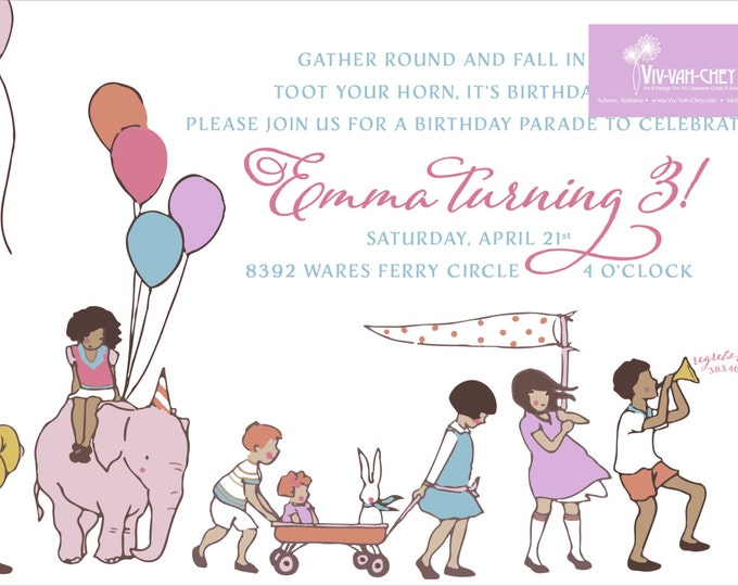Children On Parade | Birthday Party Invitation