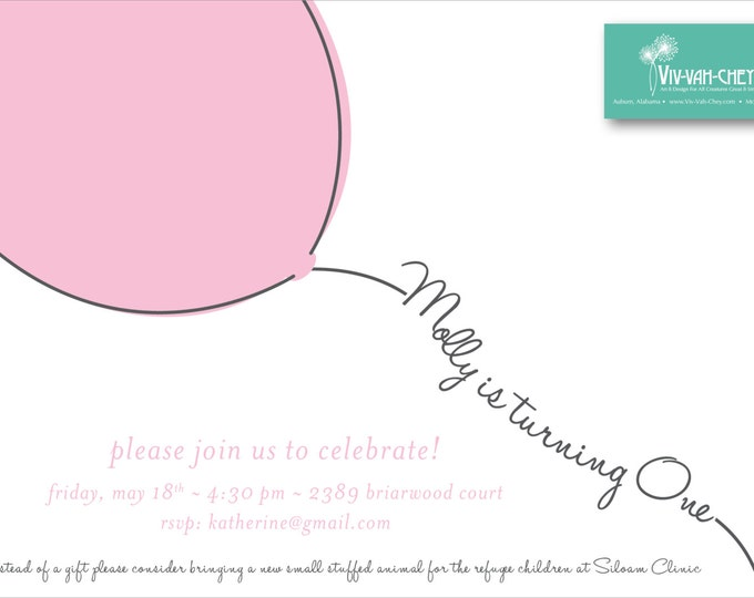 Fly Away Balloon First Birthday Invitation | Digital Download